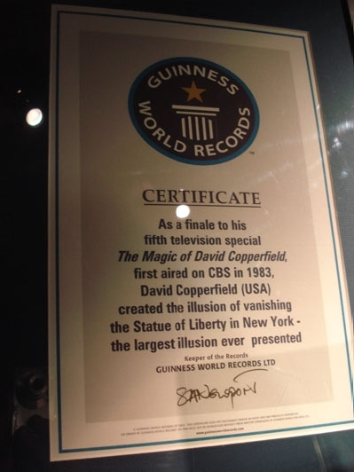 Guinness World Record certificate