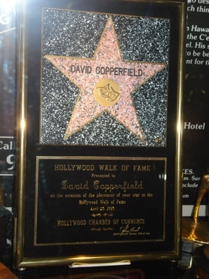 The Hollywood Walk of Fame certificate